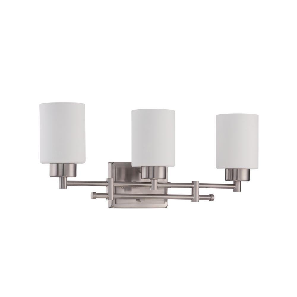 bright bathroom lighting luminance ledbury 3 light bright satin nickel vanity light 12170