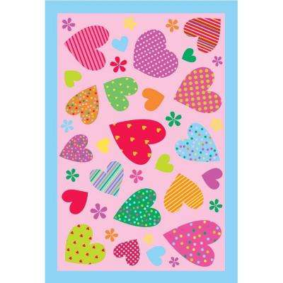 Fun Time Hearts Pink 19 in. x 29 in. Accent Rug