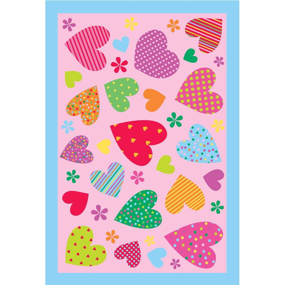 Fun Time Hearts Pink 39 in. x 58 in. Area Rug