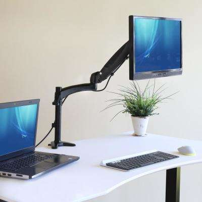 "AIRLIFT Black 360 Single Ultra Gas-Spring Adjustable Desk Mount Monitor Arm 13"" to 27"" and Vesa Compatible"