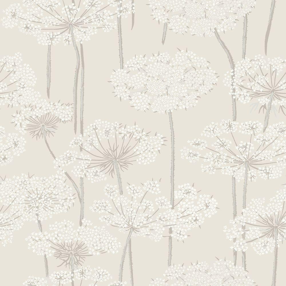 Beige Dandelion Meadow Wallpaper