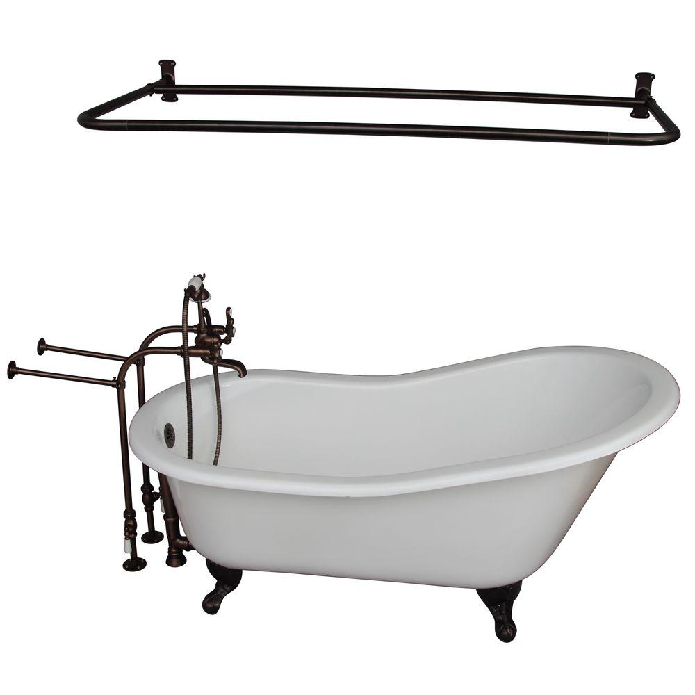 Barclay Products 5.9 ft. Cast Iron Ball and Claw Feet Slipper Tub in ...