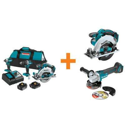 18-Volt LXT Lithium-Ion Brushless Cordless Combo Kit (3-Tool) with Bonus Circular Saw and Angle Grinder