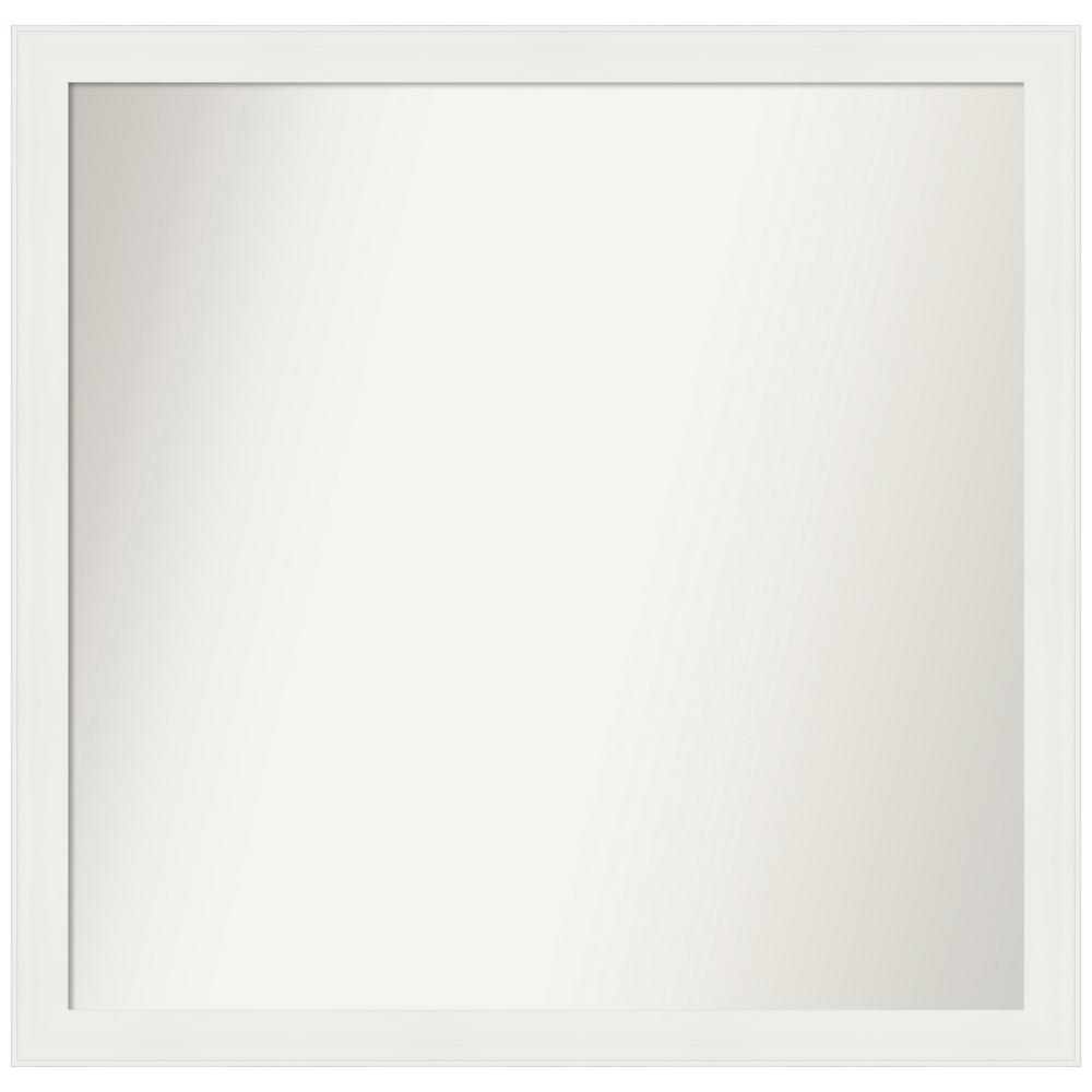Medium Rectangle Matte White Casual Mirror (36.38 in. H x 37.38 in. W)