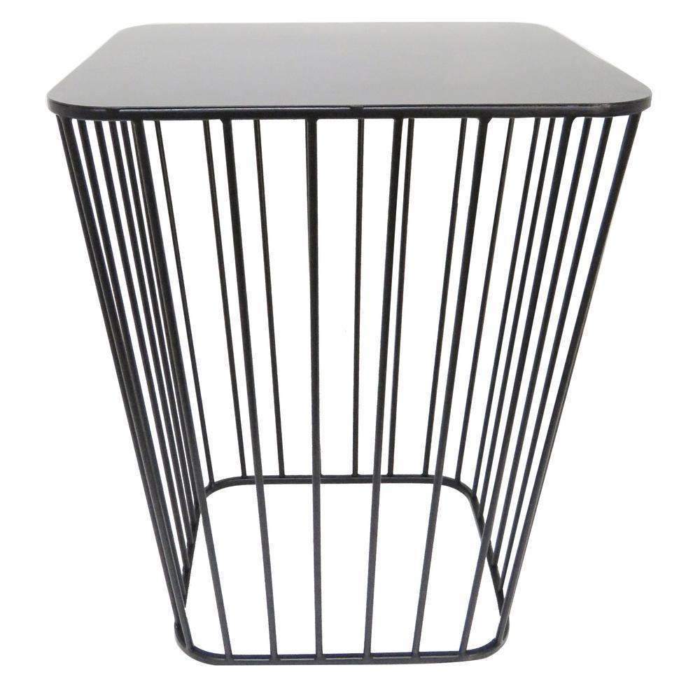18.9 in. Black Metal Modern Decorative Stand