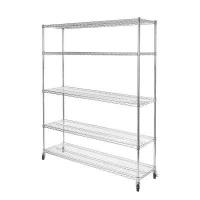 60 in W x 18 in D x 72 in H UltraDurable Commercial-Grade 5-Tier Steel Wire Shelving with Wheels