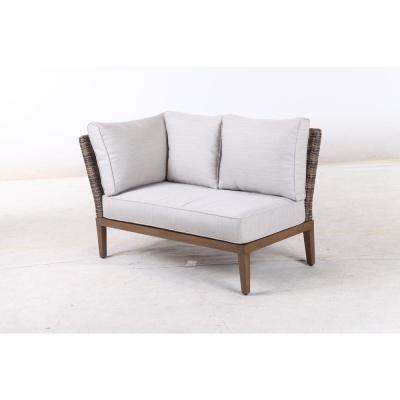 Chandler Lakes Alumimum Right Arm and Left Arm Outdoor Sectional Chair with Sunrella Beige Cushion