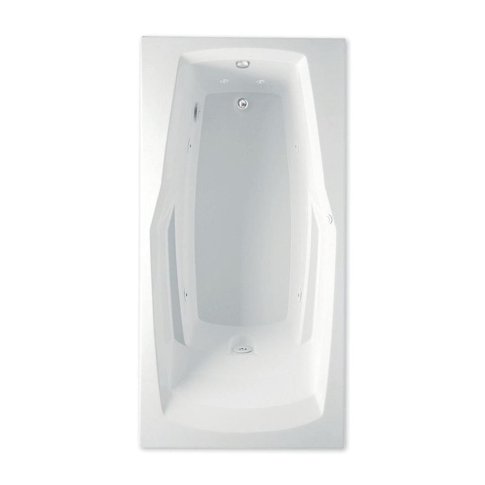 Aquatic Ascot II 66 in. Acrylic Reversible Drain Rectangular Drop-In Whirlpool Bathtub with Heater in White