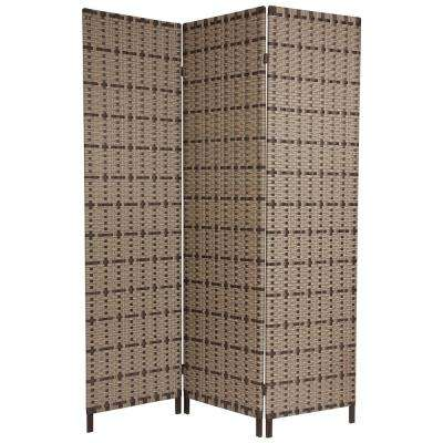 6 ft. Beige 3-Panel Tropical Outdoor Room Divider