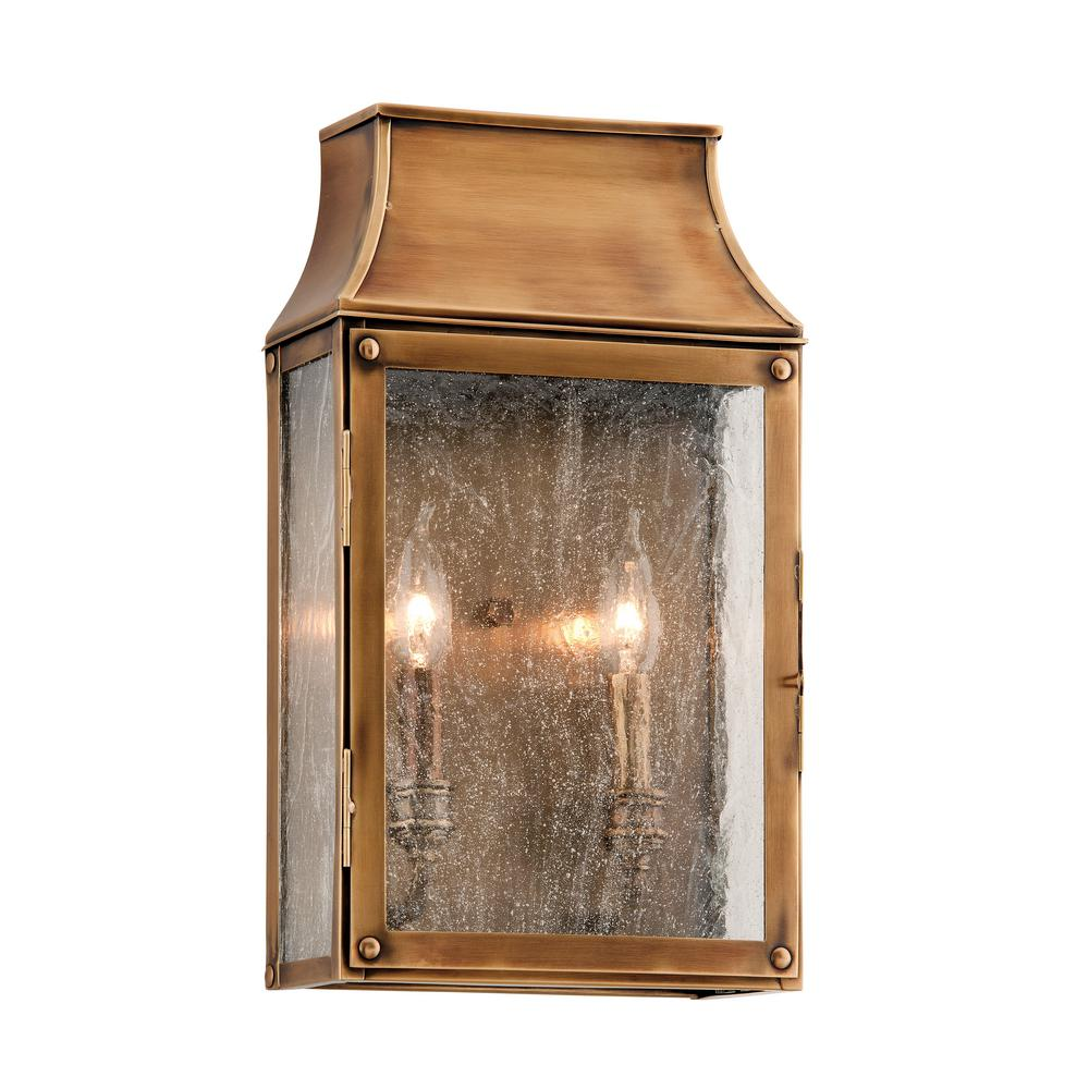 Outdoor Wall Lights Beacon Lighting: Troy Lighting Beacon Hill 2-Light Heirloom Brass Outdoor