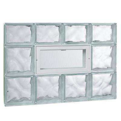 31 in. x 21.25 in. x 3.125 in. Wave Pattern Glass Block Masonry Window with Vent