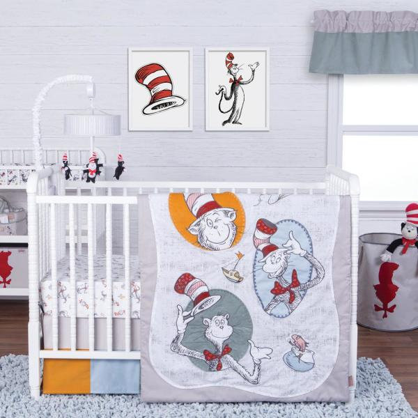 Dr. Seuss Classic Cat in The Hat 3-Piece Multicolored Geometric Polyester Crib Bedding Set