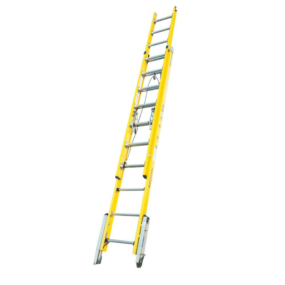 20 ft. Fiberglass D-Rung Leveling Extension Ladder with 375 lb. Load