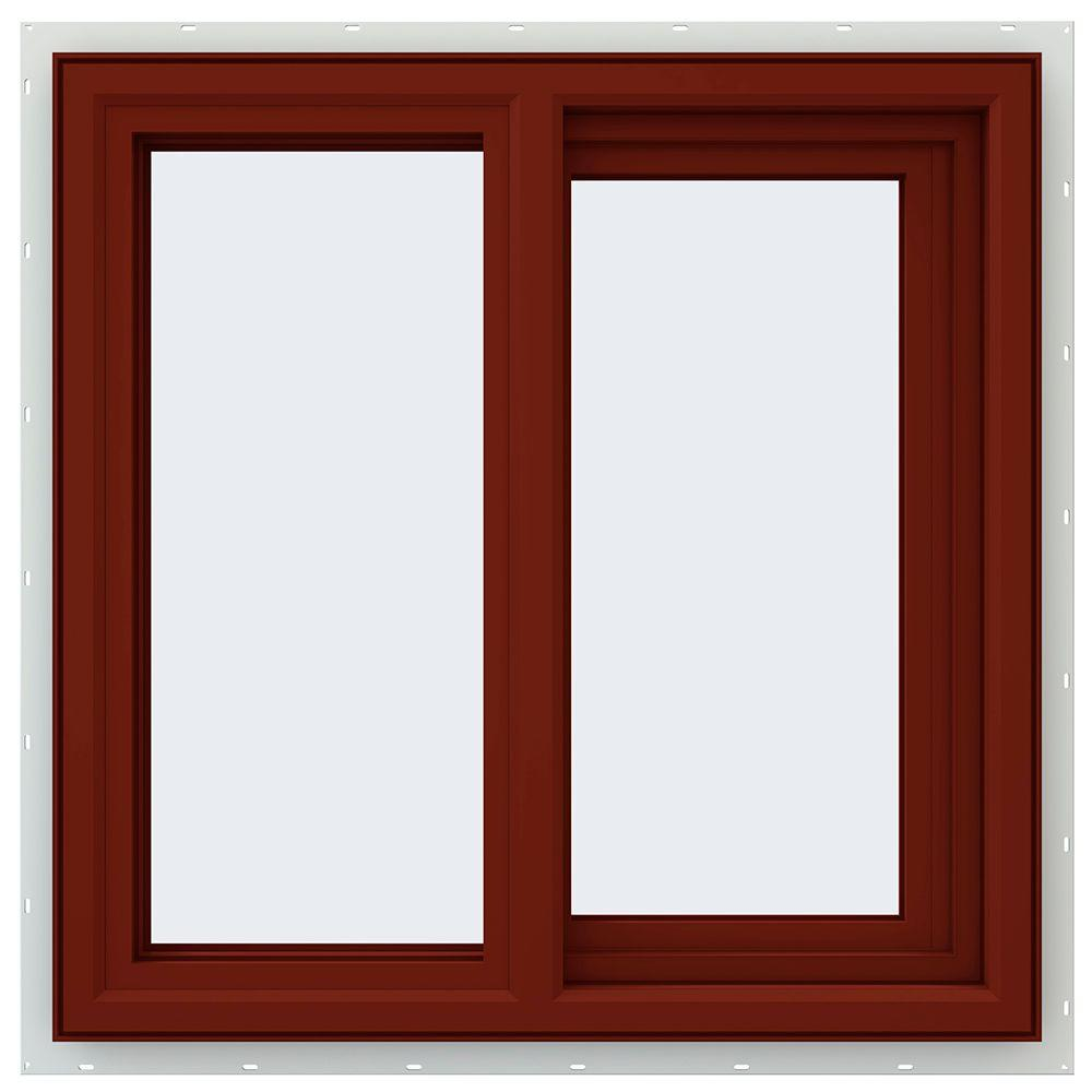 JELD-WEN 23.5 in. x 23.5 in. V-4500 Series Right-Hand Sliding Vinyl Window - Red