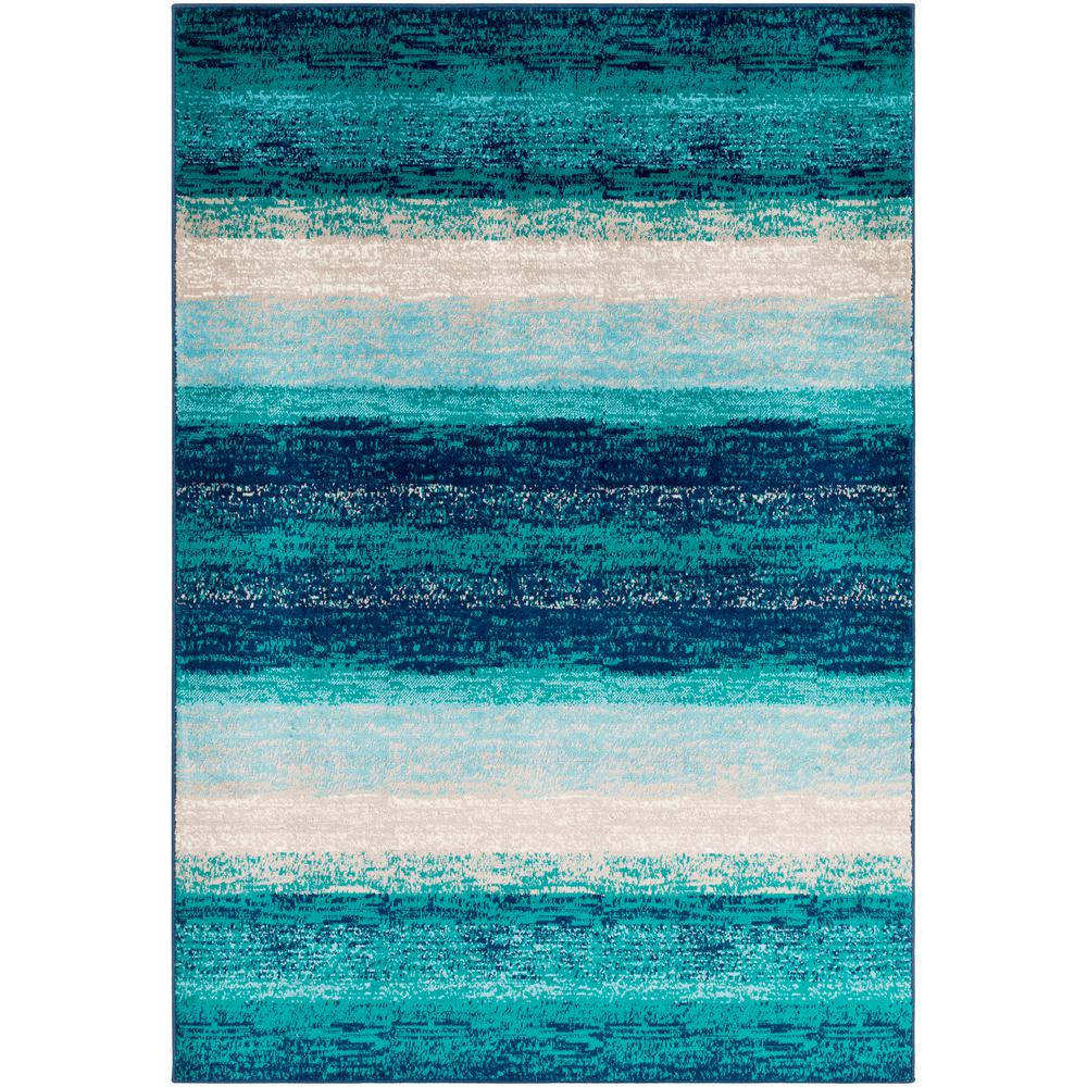 Artistic Weavers Sora Teal 6 ft. 7 in. x 9 ft. 6 in. Striped Area Rug
