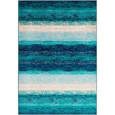 Sora Teal 6 ft. 7 in. x 9 ft. 6 in. Striped Area Rug