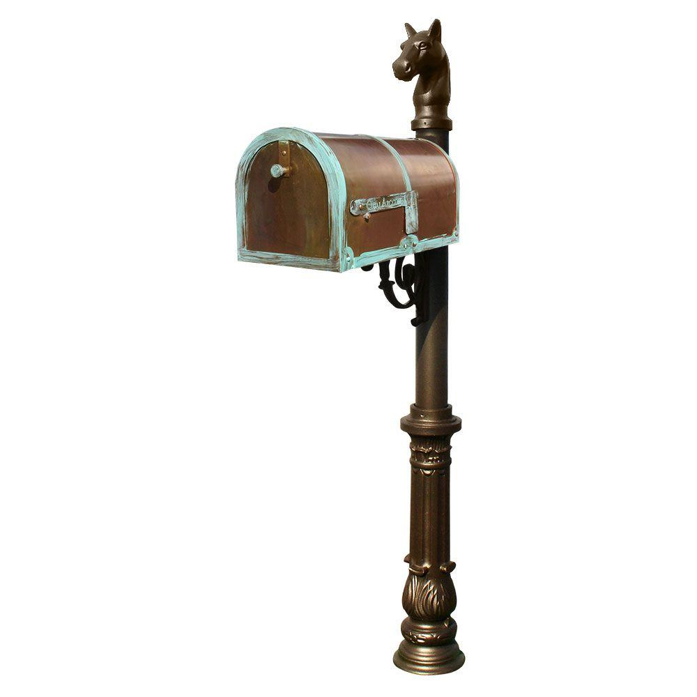MB-3000 Antique Brass Patina Post Mount Non-Locking Mailbox with Bronze Lewiston
