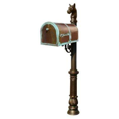 MB-3000 Antique Brass Patina Post Mount Non-Locking Mailbox with Bronze Lewiston Post System