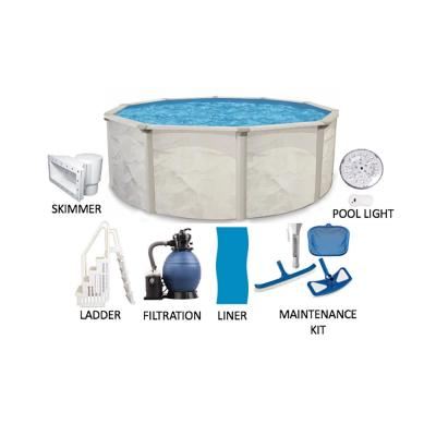 Independence 27 ft. Round 52 in. Deep Hard Sided Metal Wall Above Ground Pool Package with Entry Step System