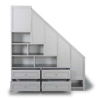 Venice Gray Twin over Full Bunk Bed with Steps