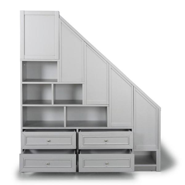 Home Styles Venice Gray Twin over Full Bunk Bed with Steps
