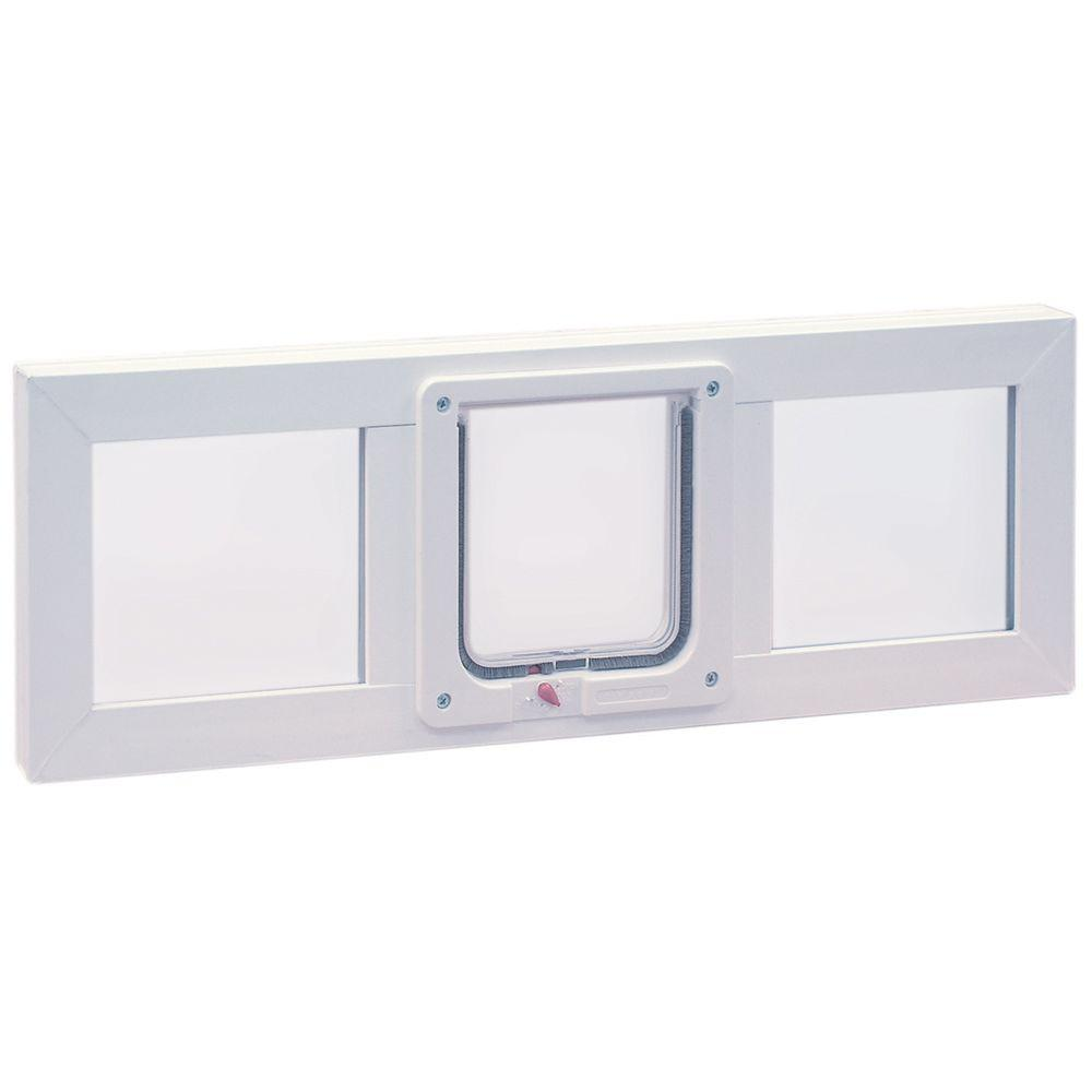 Ideal Pet Products 6.25 in. x 6.25 in. Small Cat Flap Pet Door with Vinyl Frame for Installation into 36 in. Wide Sash Window