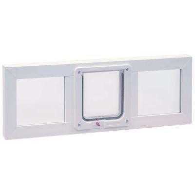 6.25 in. x 6.25 in. Small Cat Flap Pet Door with Vinyl Frame for Installation into 36 in. Wide Sash Window