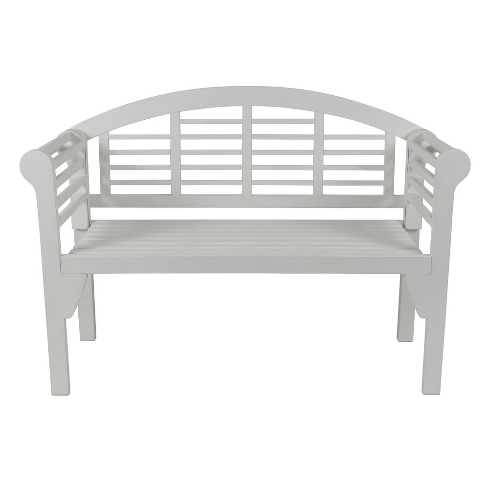Decor Therapy Terra 47 in. White Wood Outdoor Bench