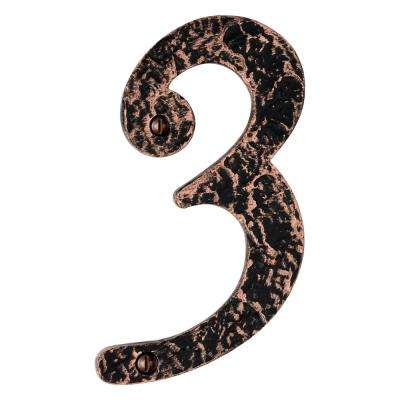 Hammered 6 in. Antique Copper House Number 3