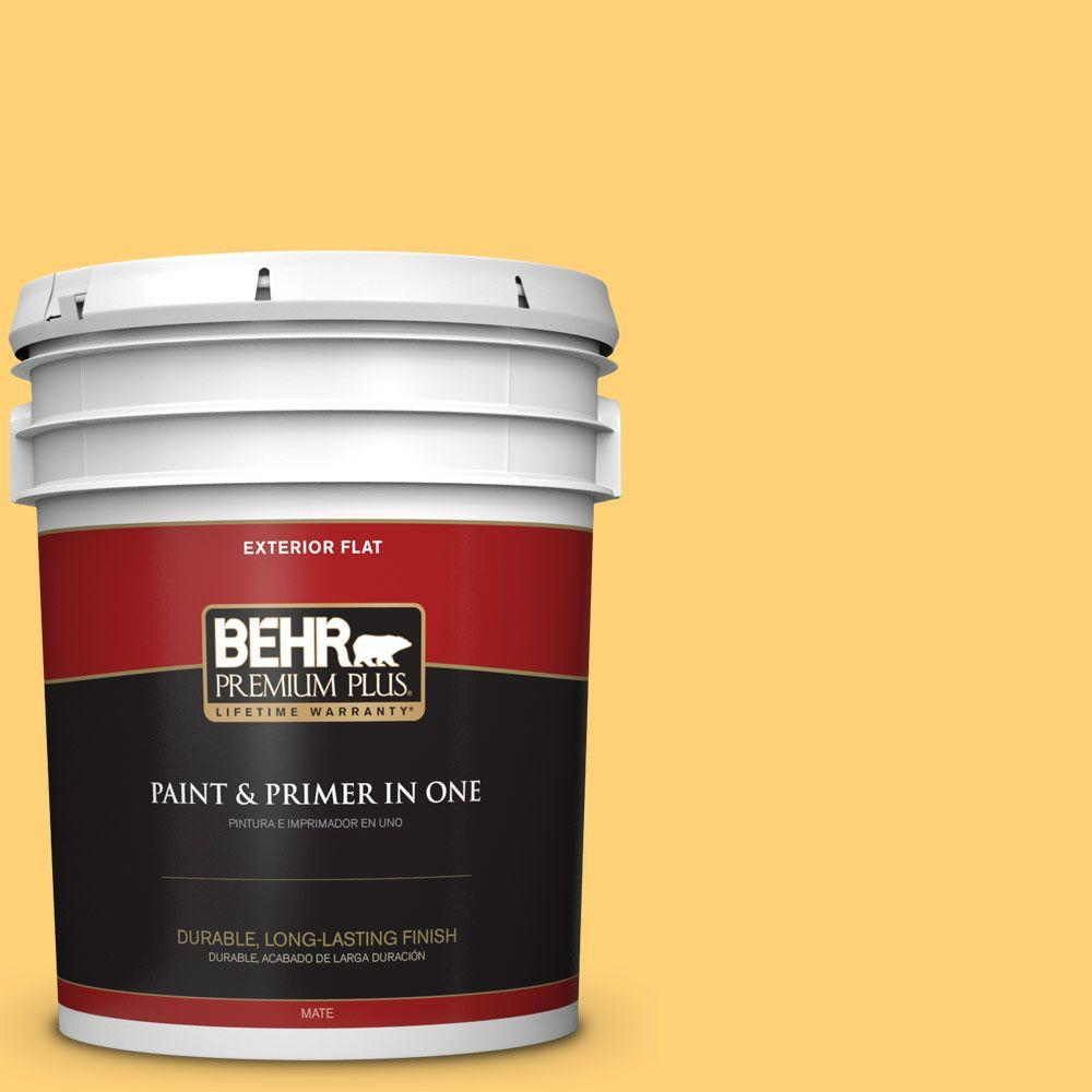 5-gal. #P260-5 Yellow Jubilee Flat Exterior Paint