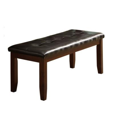 Dark Brown Wooden Based Leather Tufted Bench