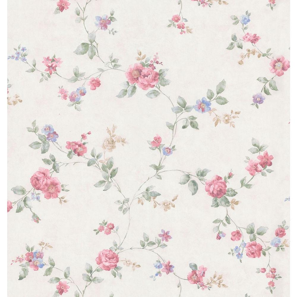 Cameo Rose IV Red Swag Trail Wallpaper Sample