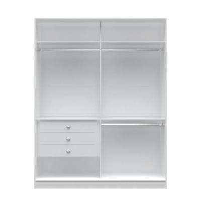 Chelsea 2.0 - 70.07 in. W White Double Basic Wardrobe with 3-Drawers