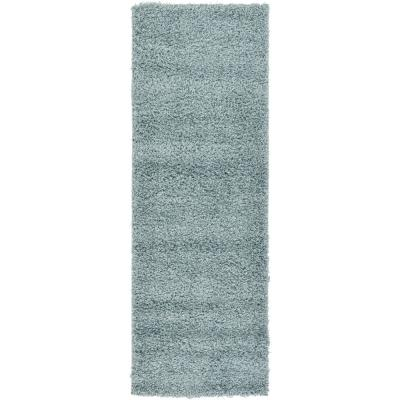 Solid Shag Slate Blue 6 ft. Runner Rug
