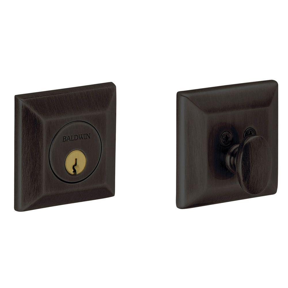 2-1/8 in. Oil Rubbed Bronze Single Cylinder Door Prep Square Deadbolt