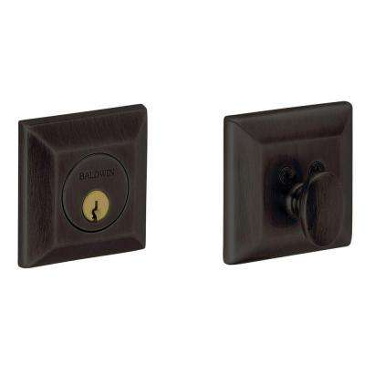 2-1/8 in. Squared Single Cylinder Door Prep Oil Rubbed Bronze Deadbolt
