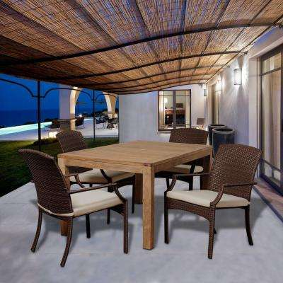 Travis 5-Piece Teak Rectangular Patio Dining Set with Off-White Cushions