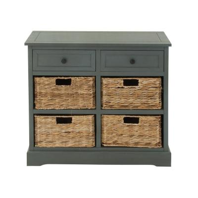 28 in. Blue Gray Wooden Cabinet with Four Wicker Baskets