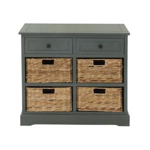 Blue Gray Wooden Cabinet With Four Wicker Baskets