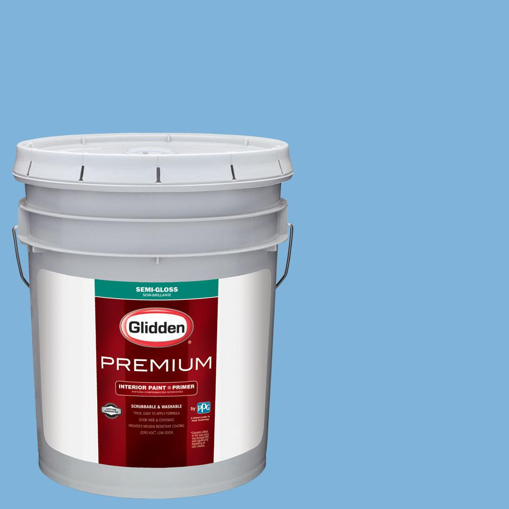 Glidden Premium 5 gal. #BB-058E Kansas City Royals Light Blue Semi-Gloss Interior Paint with Primer, Blues