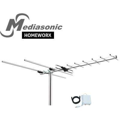 HOMEWORX HDTV Digital TV Outdoor 100-Miles Range Antenna with Digital Signal Amplifier and Coaxial Cable UHF/VHF/FM