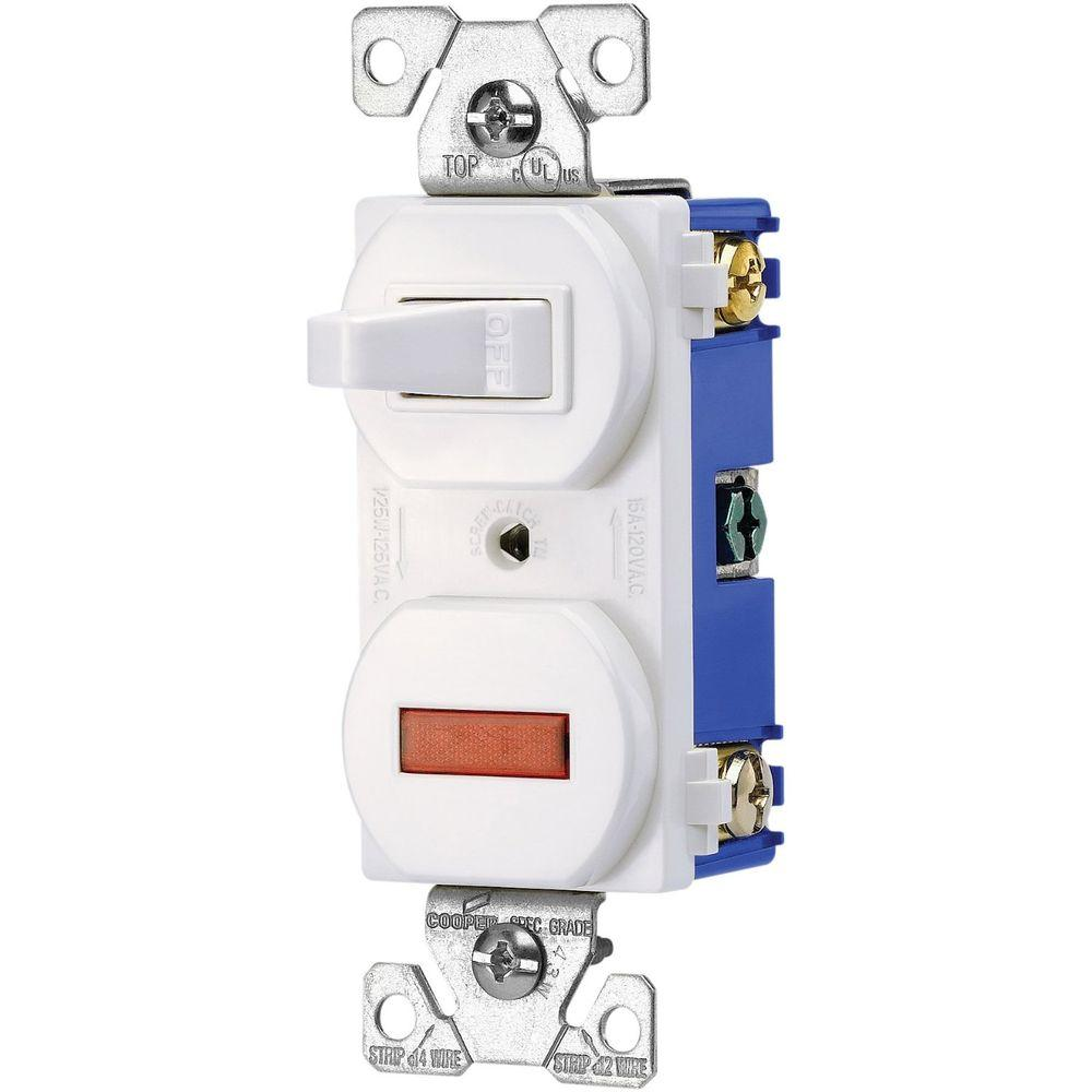 Eaton Heavy-Duty Grade 15 Amp Combination Single Pole Toggle Switch and  Pilot Light in