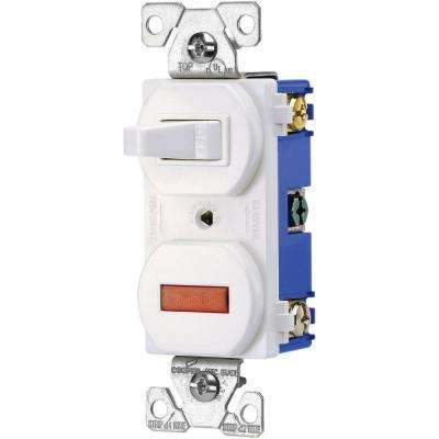Heavy-Duty Grade 15 Amp Combination Single Pole Toggle Switch and Pilot Light in White