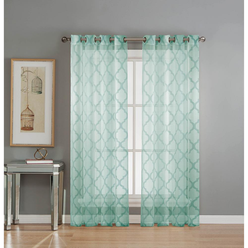 Good Window Elements Sheer Lattice Cotton Blend Burnout Sheer 84 In. L Grommet Curtain  Panel Pair