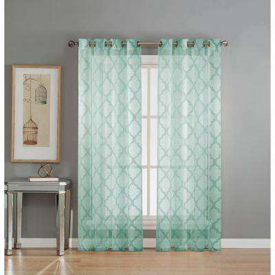 Sheer Lattice Cotton Blend Burnout Sheer 84 in. L Grommet Curtain Panel Pair,  Aqua (Set of 2)