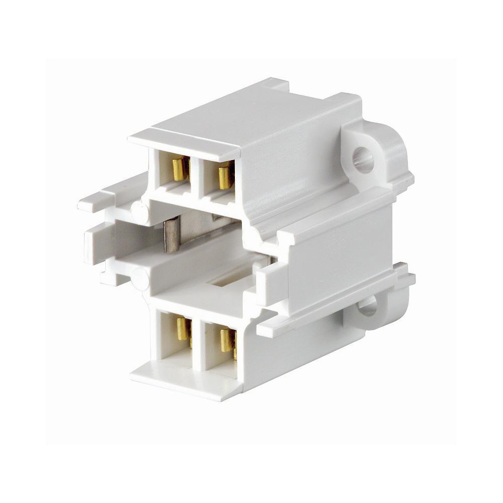 Leviton 75W GX24q-3 Lamp Base 26W 4-Pin Screw-Down Compact Fluorescent Lampholder, White