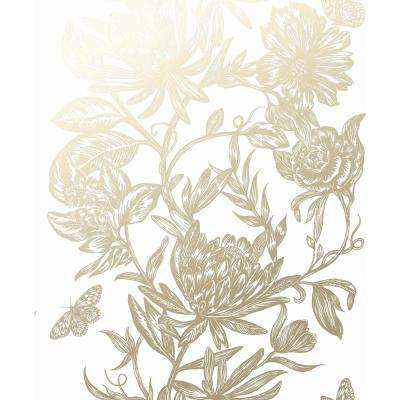 Marquis Gold Floral Vinyl Peelable Wallpaper (Covers 56.4 sq. ft.)
