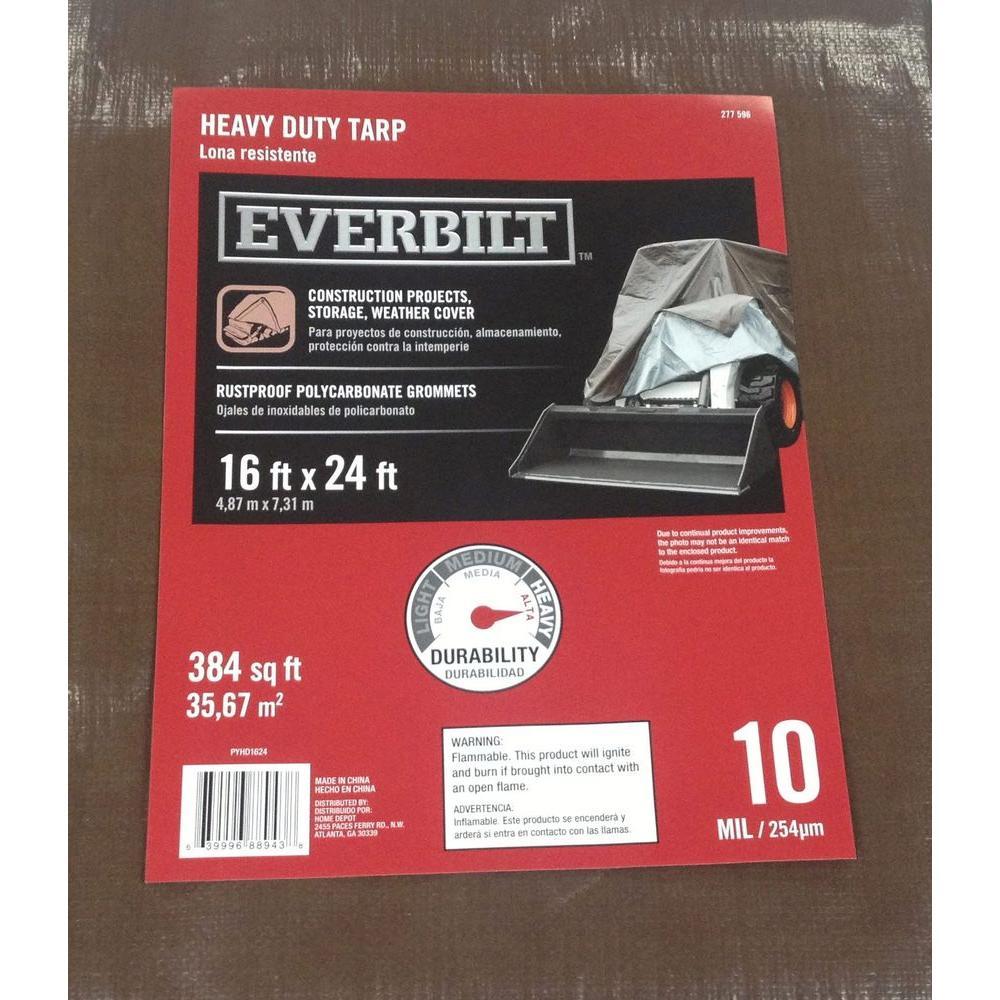 Everbilt 16 ft. x 24 ft. Heavy Duty Silver/Brown Tarp