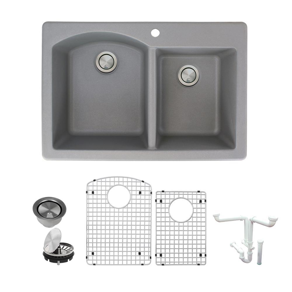 Aversa All-in-One Drop-in Granite 33 in. 1-Hole 1-3/4 in. D-Shape Double Bowl Kitchen Sink in Grey