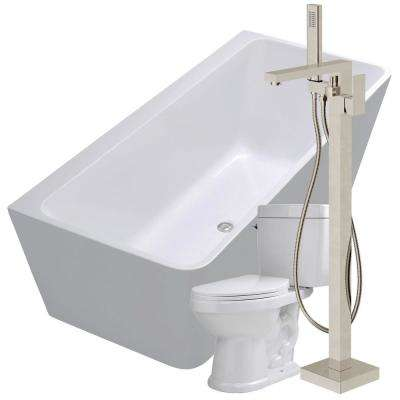 Strait 67 in. Acrylic Flatbottom Non-Whirlpool Bathtub in White with Dawn Faucet and Talos 1.6 GPF Toilet